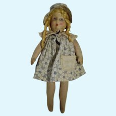 Vintage 1930's Cloth Doll, Charming