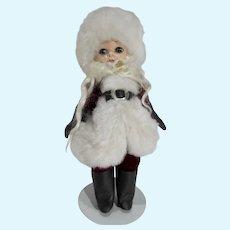Carlson 8 Inch Strung Santa Claus Doll, 1950's