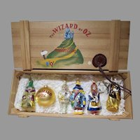 Kurt Adler Polonaise Wizard of Oz Set of 6 Xmas Ornaments in Wooden Crate!