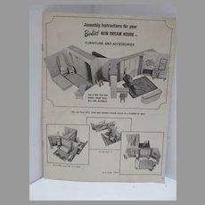 Original Instruction Booklet for Barbie's New Dream House, Mattel, 1964