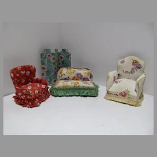 Four Pieces of Upholstered Doll House Furniture, 1950's