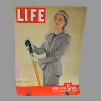Vintage Life Magazine Oct. 1946, Fabulous Fall Fashions Issue