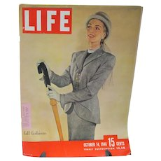 Vintage Life Magazine Oct. 1946, Fabulous Fall Fashions Issue