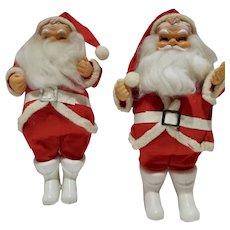 Pair of Vintage 10 Inch Santas, 1957-58