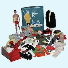 VIntage Mattel Ken Doll w/Case&Outfits, 1961-2