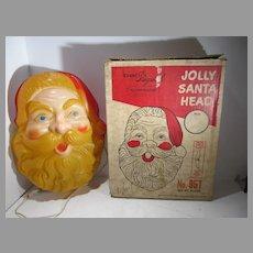 1961, Beco, Lighted Jolly Santa Face, Original Box!