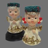 VIntage Lefton Ceramic Angel Candler Holders, 1960's, Japan