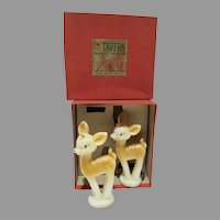 Vintage Tavern Novelty Candles, Pair of Fawns with Original Box