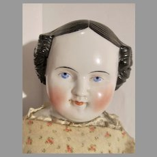 """Antique 22"""" China Head Doll, Beautiful Face, 1800's"""