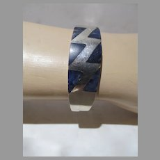 Sterling Silver & Lapis Hinged Modernist Bracelet, Mexico, 1970's