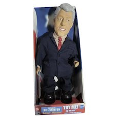 NRFB President Bill Clinton Dancing, Singing Doll, Works Perfectly