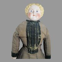 """Antique 29"""" Blond China Head Doll, 1800's"""