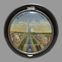 1939 New York World's Fair Blk, Enamel Lady's Compact, NM!
