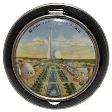 1939 New York World's Fair Blk, Enamel Lady's Compact, NM!