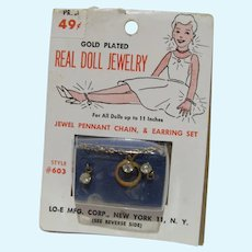 Old Store Stock Gold Plated Doll Jewelry, 1950's