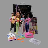 Vintage Mattel Barbie & The Rockers Dolls, Case & Accessories, 1986