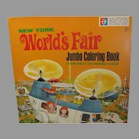 Vintage 1964-65 New York World's Fair Jumbo Coloring Book, Mint
