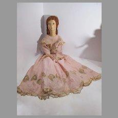 Wonderful 1930's  29 Inch Boudoir Cloth  Doll, Silk Face