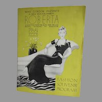 1934 B'way Musical Souvenir Program, Roberta, Jerome Kern