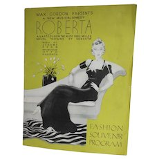 1934 B'way Musical Souvenir Program, Roberta, Jerome Kern