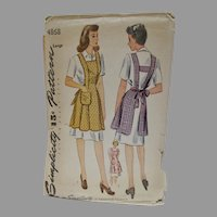 VIntage 1950's Simplicity Pattern for Apron, Un-Used