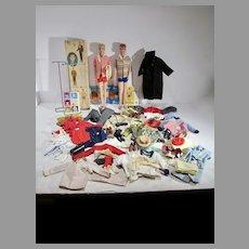 Vintage Mattel Ken & Allan Dolls w/Wardrobe and Accessories, 1960's
