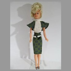 Vintage 1969 Pale Blond Palitoy Tressy Doll in Walk in The Park Outfit
