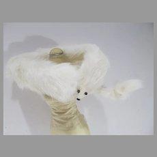 "Vintage Madame Alexander Cissy Size White Fur ""Stone Marten"" Stole, 1950's, Japan"