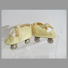 Vintage 1940's Oil Cloth Lace Up Doll Roller Skates