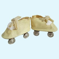 Vintage 1940's Oil Cloth Lace Up Doll Roller Skates