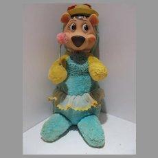 Knickerbocker 1959 Plush Cindy Bear, Yogi's Girlfriend, Huckleberry Hound