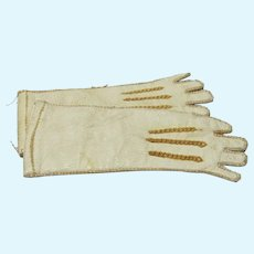 Antique White Leather Doll Gloves, for Fashion Doll