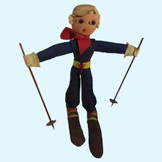 Vintage Felt Skier Doll, 1950's, Made in Austria