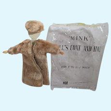MIP Clone Fashion Doll Faux Fur Coat & Hat, 1960's