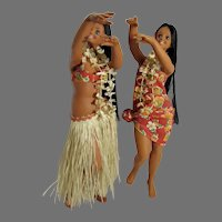 """Pair of Vintage 15"""" Shapely Hula Girl Dolls in Dance Pose in Authentic Outfits, 1970's"""