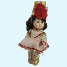 "VIntage 1950's Hard Plastic, 10 1/2"" Walking Doll, Drum Majorette"