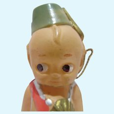 Celluloid Kewpie w/ Painted Hat, Belt, Sword & Sash w/Paper Stamp, 1930's
