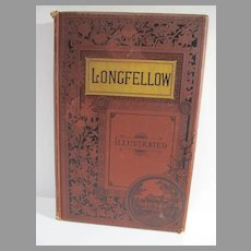 Antique Bk.Poetical Works of Henry Wadsworth Longfellow, 1885, Illustrated