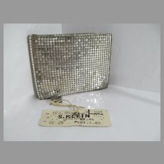 Vintage Un-Used Ladies Silver Mesh Wallet, 1960's w/Tags