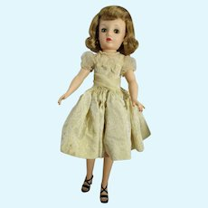 Vintage Ideal 20 Inch Miss Revlon Doll in Gold Brocade Dress, 1950's