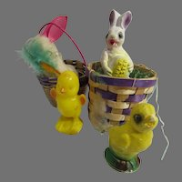 Vintage Easter Chalk and Cotton Figures, 1940's-50's