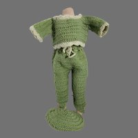 Vintage 3 Piece Wool Knitted Doll Outfit, 1940's