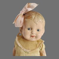 """Antique 14"""" Compo & Cloth Little Girl Doll, 1920's"""