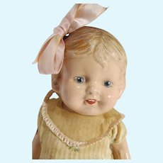 "Antique 14"" Compo & Cloth Little Girl Doll, 1920's"