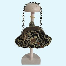 Vintage Brocade Doll Purse with Brass Frame & Chain Handle, 1930's