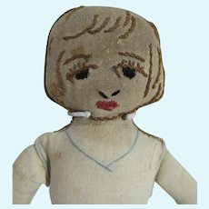 Vintage Cloth Doll with Embroidered Face, 1930's