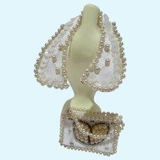 Madame Alexander Elise Size Beaded&Pearl Collar & Purse, 1950's