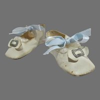 Beautiful Vintage Leather Doll Shoes, 1930's