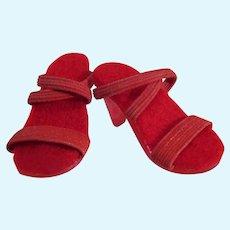 Vintage Madame Alexander Elise Size Red Elastic Strap High Heels