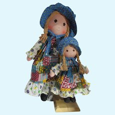 Pair of Vintage Holly Hobby Cloth Dolls, 1971, Knickerbocker